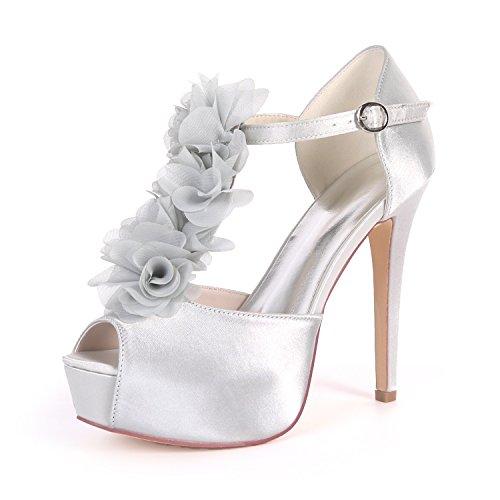 EU41 Flower Soirée Cheville Plate De Forme Haute Mariage Ager Silver Femmes Peep De 3128 37H Cour Talon Courroie Chaussures Boucle Toe Satin UK8 pZnByqpwr