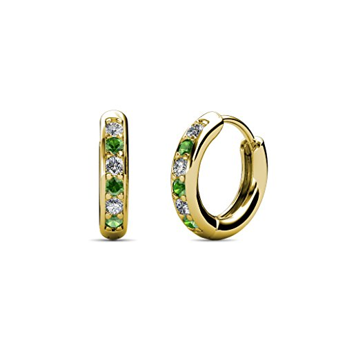 Petite Green Garnet and Diamond (SI2-I1, G-H) Huggies Hoop Earrings 0.25 Carat tw in 14K Yellow (0.25 Ct Tw Hoop)