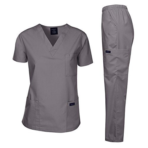 Dagacci Scrubs Medical Uniform Women and Man Scrubs Set Medical Scrubs Top and Pants, Petwer Gray, Medium by Dagacci Medical Uniform