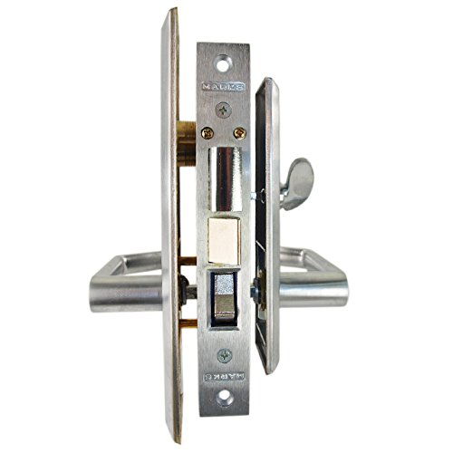 Marks Metro 116A Satin Chrome US26D Entry Left Handed (In-Swing) Thru-Bolted Mortise Lockset With Angled Lever Escutcheon Plates by Marks USA