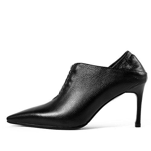 Tacco A Spillo Da Donna Sexy In Pelle Con Cinturino Alla Caviglia A Punta Nove Eleganti In Vera Pelle Nera