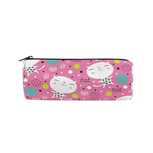 DEZIRO Endearing Kitty Drum Students Stationery Pouch Zipper Bag