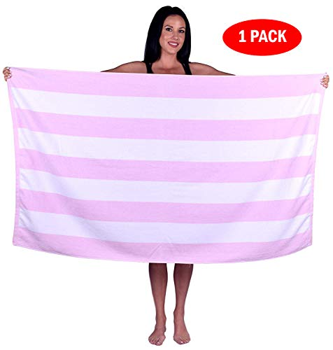 Turquoise Textile 100% Turkish Cotton Eco-Friendly Cabana Stripe Pool Beach Towel, 35x60 Inch (1 Pack, Light Pink) (Beach Soft Towel)
