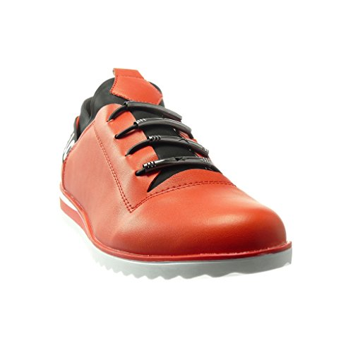 Angkorly - Chaussure Mode Baskets femme brillant Talon compensé 2.5 CM - Rouge