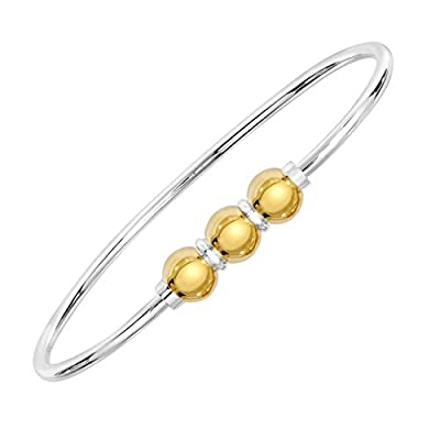Cheap Unique royal jewelry Sterling Silver & 14k solid Gold Three Ball Screw Bracelet