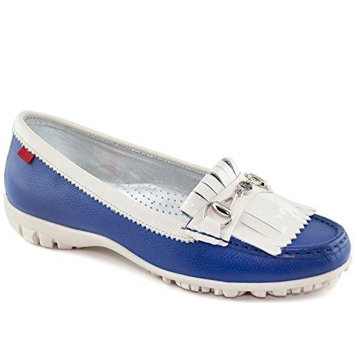 MARC JOSEPH NEW YORK Women's Fashion Shoes Lexington Golf Blue Print Grainy with Patent Kilt Size 7