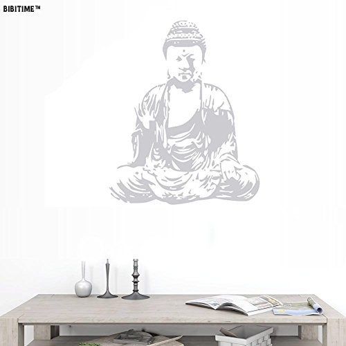 BIBITIME 22.04'' x 27.16'' Grey Sit in Meditation Buddhism Wall Decals Buddhist Vinyl Sticker for Club Yoga Gym Living Room Background PVC Decorations Women Bedroom PVC Art Murals by BIBITIME