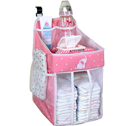Baby Crib Diaper Caddy - Hanging Diaper Organizer - Storage for Baby Nursery - Hang on Crib, Changing Table, Playard or Furniture – Delicate Pink – 17x9x9 from Cradle Star