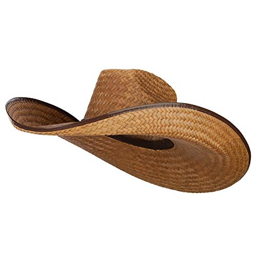 Oversized Western 7 Inch Brim Hat - Dark Natural -