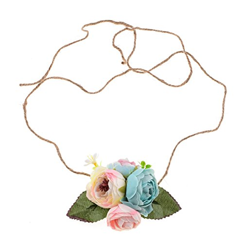 Floral Fall NewBorn Baby Girls Toddler Tieback Birthday Photo Prop Flower Crown Headband BY-48 (Blue Pink)