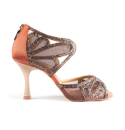 PortDance Chaussures Glitter cm de Danse Petit Premium Femmes 7 Bronze PD808 Flare Pro Satin ar5wax8q