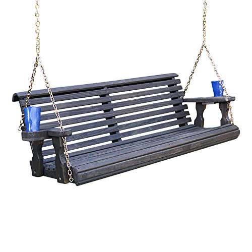 Amish Heavy Duty 800 Lb Roll Back Treated Porch Swing with Hanging Chains and Cupholders (4 Foot, Semi-Solid Black Stain)