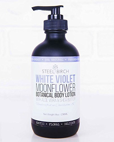 Steel Birch White Violet Moonflower Botanical Body Lotion (8oz.) | Floral & Exotic Scent | Collagen Boosting | 99% Natural Lotion | Plant-Based Lotion | Handcrafted in Charleston