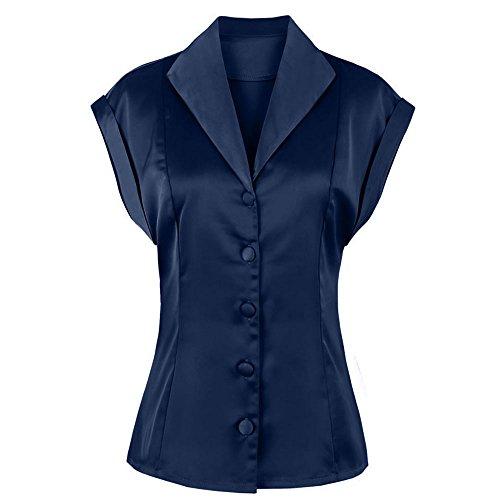(ZAFUL Women's Elegant Silk Shirt Satin Monochrome Plain Evening Shirt Button Vintage Top (Navy Blue,S))