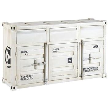 Sideboard Care Metall Weiß Lackiert 3 Schübe 3 Türen Amazonde