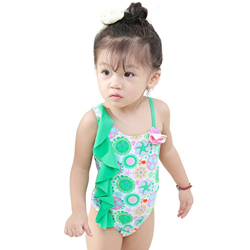 Saidi Girls One Piece Swimsuit One-Shoulder Hollow-Out Flower Corsage Swimwear Green (XL6X) (Corsage Shoulder)