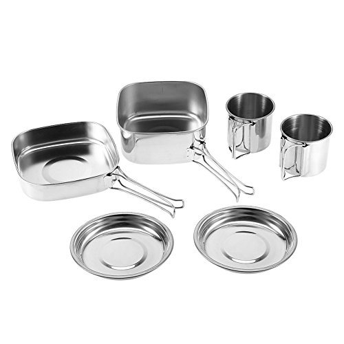 Aramox Camping Cookware Set 100% Stainless Steel Portable Outdoor Picnic Pan/Pot / Plate/Cup Set 6pcs by Aramox