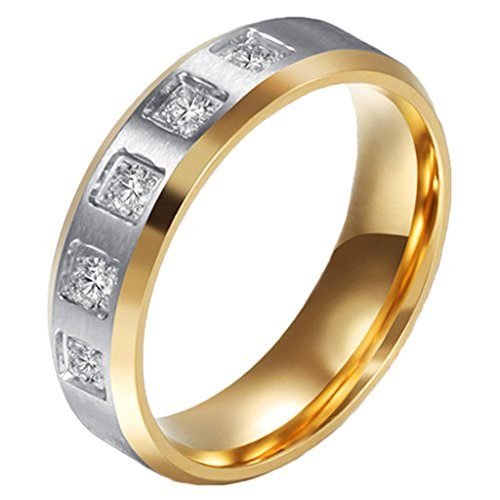 Women Wedding Rings Stainless Steel High Polished Couple Engagement Rings for Her (14kt Gold Cat Ring)