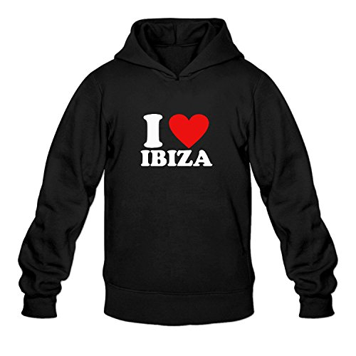 Men's I LOVE IBIZA Cool Hooded Pullover Hoodies - Nyc Max Mara
