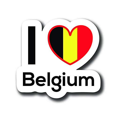 Love Belgium Flag Decal Sticker Home Pride Travel Car Truck Van Bumper Window Laptop Cup Wall One 5 Inch Decal MKS0141