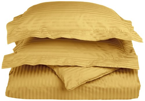 100% Egyptian Cotton 650 Thread Count Full/Queen 3-Piece Duvet Cover Set, Single Ply, Stripe, Gold ()