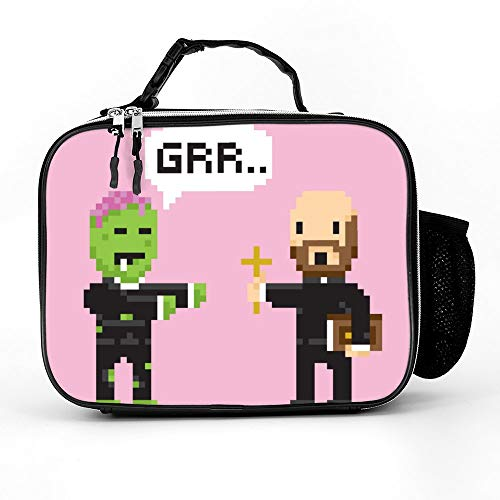 Welkoom Lunch Bag Insulated Lunch Box - Tough & Spacious Adult Lunchbox To Seize Your Day (Pixel Art Game Style Halloween Zombie And Priest - Lunch Bags For Men, Adults, Women) ()