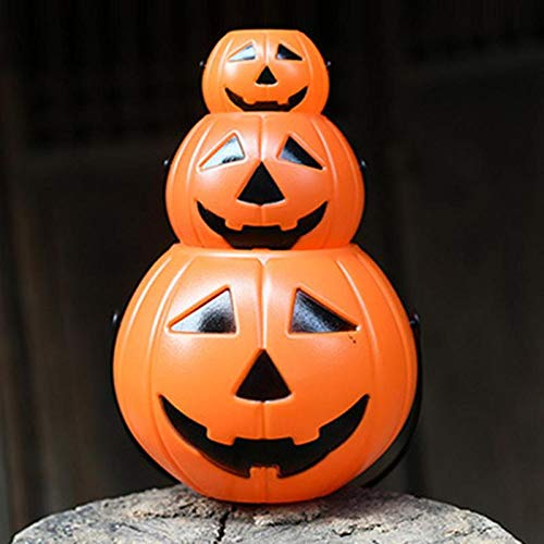 LED Halloween Pumpkin Candy Basket Bucket Child Trick Or Treat S/M/L Candy Bag Home Halloween Party Tree Light Decor Supplies (Random)