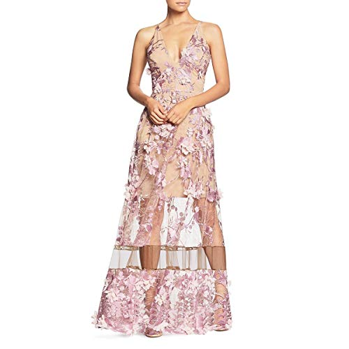 Dress the Population Women's Embellished Plunging Gown Sleeveless Floral Long Dress, Lilac/Nude Gigi, - Floral Lilac Dress