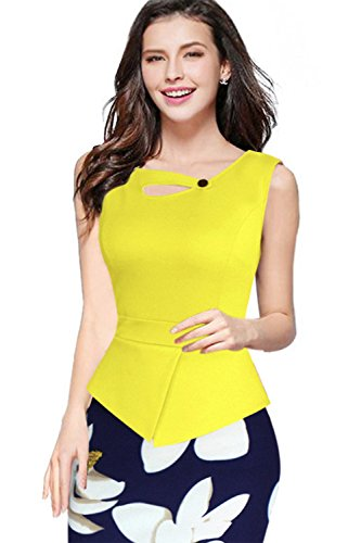Para mujer Floral impresión falda oficina lápiz vestido Casual Wear para trabajo Sleeveless Yellow