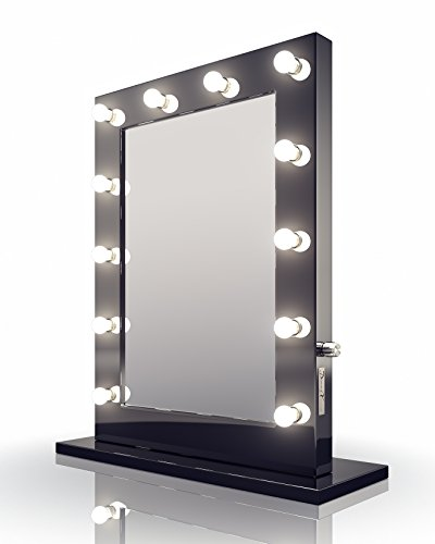 Diamond X Gloss Black Hollywood Makeup Mirror Dimmable LED k112WW