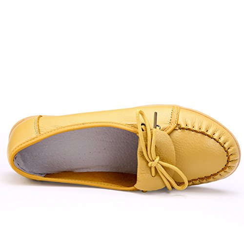 Lucksender Womens Leather Round Toe Flat Loafer Shoes Yellow 35uMu