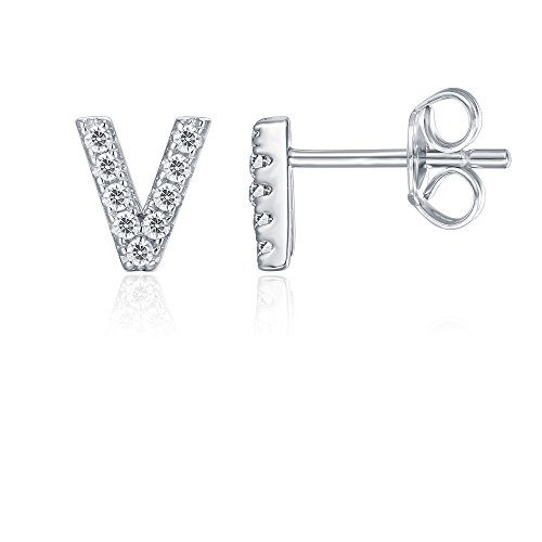 (PAVOI 925 Sterling Silver CZ Simulated Diamond Stud Earrings Fashion Alphabet Letter Initial Earrings - V)