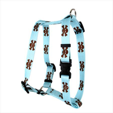 UPC 844360064636, Yellow Dog Design H-BBSK103L Blue and Brown Skulls Roman Harness - Large