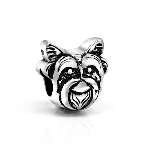 The Kiss Pet Lover Dog Puppy Paw Family 925 Sterling Silver Bead Fits European Charm Bracelet (Yorkie - Jewelry Yorkie