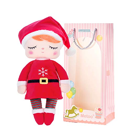 Me Too Christmas Baby Dolls Baby Girl Gifts Toy Plush Doll Angela with Santa Costume for Girls Red 12 Inches