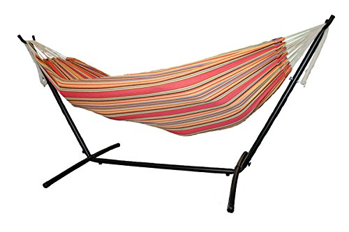 Shop4Omni Two Person Hammock with Compact Steel Stand and Case (Red/Orange)