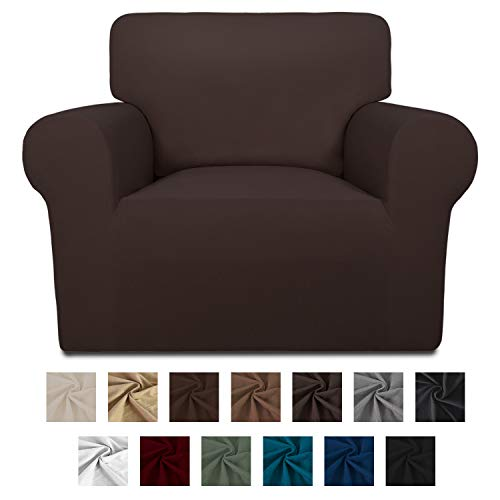Easy-Going Fleece Stretch Sofa Slipcover - Spandex Anti-Slip Soft Couch Sofa Cover, Washable Furniture Protector with Anti-Skid Foam and Elastic Bottom for Kids, Pets(Chair,Chocolate)