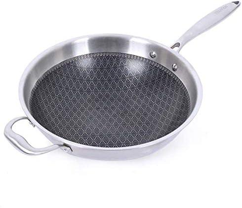 XH&XH Wok en Acier Inoxydable sans fumée Casserole antiadhésive en Acier à Trois Couches sans revêtement Casserole ulti à Fond Plat pour cuisinière à gaz à Induction à tir Direct