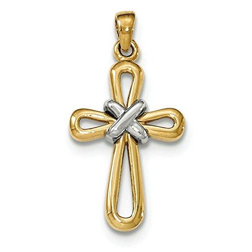 14 carats Or jaune et blanc avec pendentif croix-JewelryWeb X CENTRAL