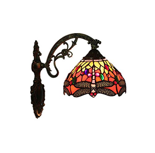 - Dragonfly Tiffany Style Wall Lamp Handmade Stained Glass Wall Light Corridor Lights Bedroom Living Room Bedside Decoration Lamp E27