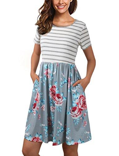 FANVOOK Summer Dresses,Vintage About Knee Length Dress for Junior Girls,Gray XL