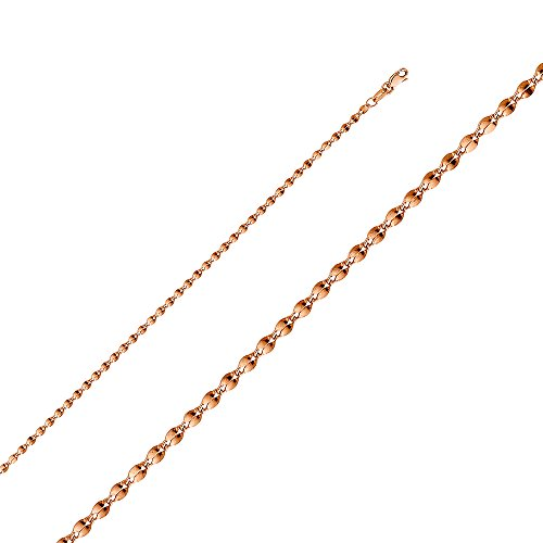 Wellingsale 14k Rose Gold 2mm Polished 14k Rose Gold HOLLOW Curve Mirror Chain Necklace - (14k Chain Curves)