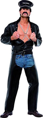 Ymca Halloween Costumes (Smiffy's Men's Village People Biker Costume, Top, Chaps, Hat With Chain &)