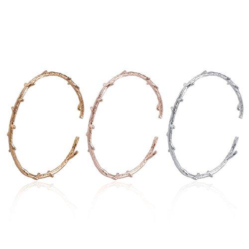 Bracelet Cuff Leaf (JJTZX Rustic Branch Bracelet Twig Cuff Bangle Bracelet Personalized Leaf Bracelet Minimalist Natural Bracelet Gift for Her (3 Color Branch Set))