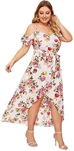 ba297b1fefd6 Milumia Women's Plus Size Cold Shoulder Floral Slit Hem Tropical Summer  Maxi Dress