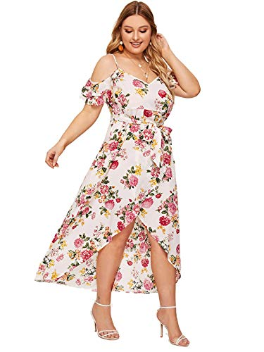 (Milumia Women Plus Size Floral Cold Shoulder Wedding Guest Maxi Dress White 1X)