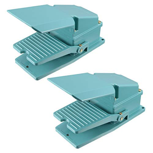 Industrial Electric Power Foot Pedal Switch SPDT NO NC 250V 15A Momentary Aluminum Case Non-Slip Blue 2PCS