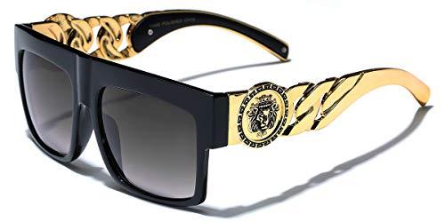 Flat Top Gold Chain Link Hip Hop Rapper Aviator Celebrity Sunglasses ()