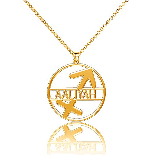 LoEnMe Jewelry Gold Plated Sagittarius Aaliyah Necklace Custom Any Name Personalized Women Hamsa Harry Law Customize