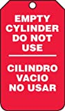 Accuform SBMGT202CTP Spanish Bilingual Cylinder Status Tag, Legend ''EMPTY CYLINDER DO NOT USE/CILINDRO VACIO NO USAR'', 5.75'' Length x 3.25'' Width x 0.010'' Thickness, PF-Cardstock, White on Red (Pack of 25)